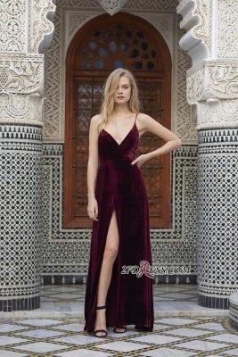 Side-Slit Velvet Maroon Elegant Spaghettis-Straps A-line Evening Dress UK_3