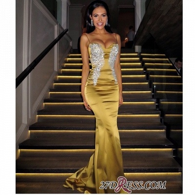 Applique Elegant Long Spaghetti-Straps Sweetheart Mermaid Prom Dress UKes UK_2