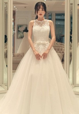 Sweep-train Elegant A-line Bow Lace-up Sleeveless Wedding Dress_1