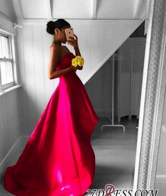 Sleeveless Red Hi-Lo Sweep-Train Newest Strapless Prom Dress UK_2