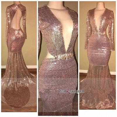 Sequined V-neck Luxury Mermaid Backless Long-Sleeve Prom Dress UK SP0295_1