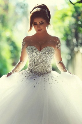 Vintage Long Sleeve Beadss Ball Gown Tulle Wedding Dress_7
