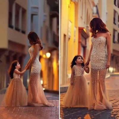Beautiful Beadings Sheer Skirt Prom Dress Sweetheart Sleeveless Mother and Daughter Dress_2
