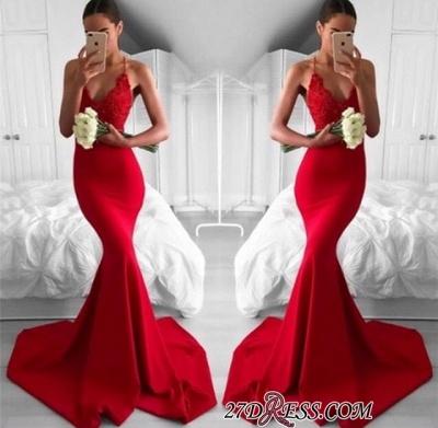 Lace V-Neck Long Red Mermaid Lace Elegant Prom Dress UK_1