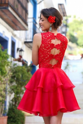 Modern Red Lace Homecoming Dress UK Layered Short Prom Dress UK_1