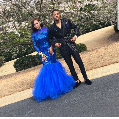 Royal-Blue Mermaid Prom Dress UK   Long Sleeve Sequins Party Gowns BK0_4