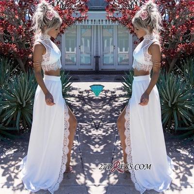 Lace Two-Pieces Split Sleeveless Elegant Wedding Dress_1