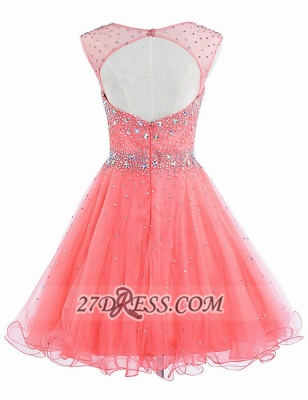 Lovely Illusion Cap Sleeve Short Homecoming Dress UK Beadings Crystals Zipper Cocktail Gown_2