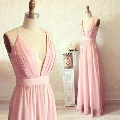 Sexy Pink Long chiffon Prom Dress UK Summer Floor Length_3