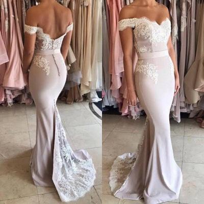 Gorgeous Off-the-Shoulder Lace Mermaid Prom Dress UK Zipper Button Back_4