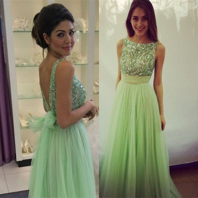 Delicate Crystals Tulle Prom Dress UK Bowknot A-line_3