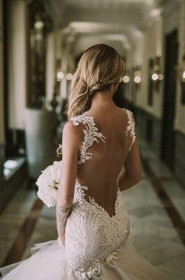 Gorgeous Lace  Sexy Mermaid Wedding Dresses UK   New Tulle Cheap Wedding Dresses UK_4