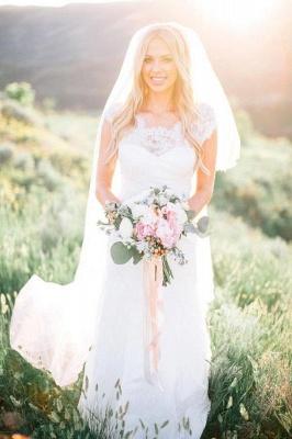 Elegant Cap Sleeve Lace Wedding Dress Summer_1