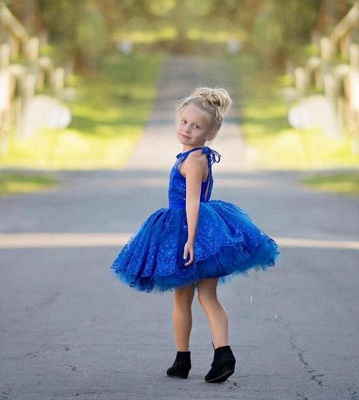 Newest Royal Blue Lace Appliques Flower Girl Dress Halter Puffy Mini_3