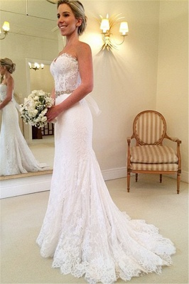 Delicate Sweetheart Sleeveless Lace Sexy Mermaid Wedding Dress With Beadss BA1598_1
