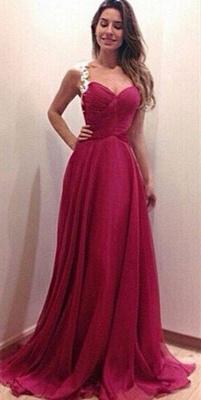 Modern Sweetheart Sleeveless Chiffon Prom Dress UK Spaghetti Strap Floor-length With Appliques_3