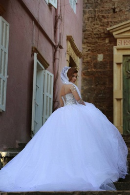 Vintage Long Sleeve Beadss Ball Gown Tulle Wedding Dress_2