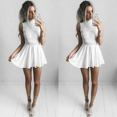 White Lace Short Prom Dress UK | Sleeveless Mini Homecoming Dress UK_3