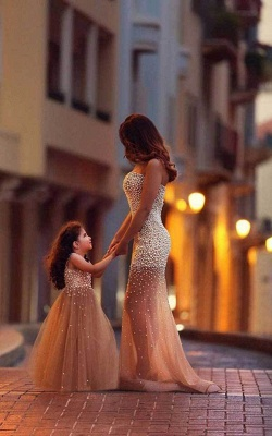 Beautiful Beadings Sheer Skirt Prom Dress Sweetheart Sleeveless Mother and Daughter Dress
