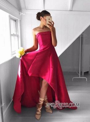 Sleeveless Red Hi-Lo Sweep-Train Newest Strapless Prom Dress UK_3