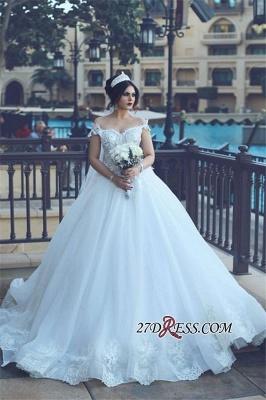 Crystal Elegant Ball Tulle Off-the-Shoulder Appliques Wedding Dress_3