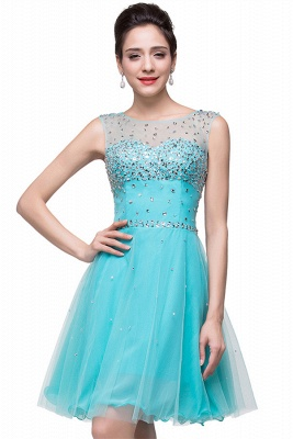 Classic Sleeveless Tulle Short Homecoming Dress UK With Crystals_1