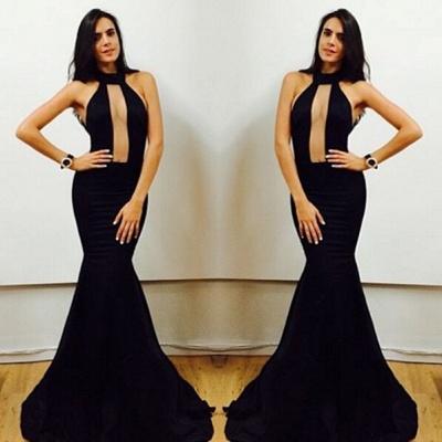 Elegant Black High-Neck Mermaid Prom Dress UKes UK Floor Length Evening Gowns_3