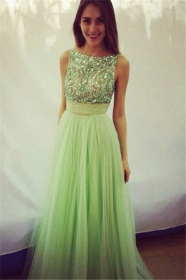 Delicate Crystals Tulle Prom Dress UK Bowknot A-line_2