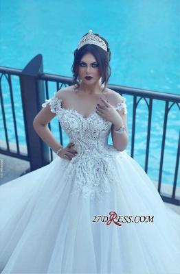 Crystal Elegant Ball Tulle Off-the-Shoulder Appliques Wedding Dress_2