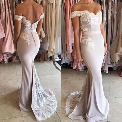 Gorgeous Off-the-Shoulder Lace Mermaid Prom Dress UK Zipper Button Back_3