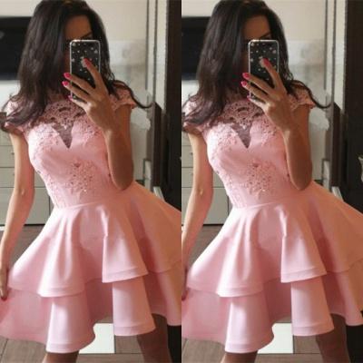 Pink Cap Sleeve 2019 Homecoming Dress UK | Lace Layers Sort Party Dress UK_3