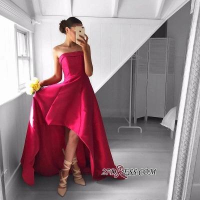 Sleeveless Red Hi-Lo Sweep-Train Newest Strapless Prom Dress UK_1