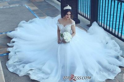 Crystal Elegant Ball Tulle Off-the-Shoulder Appliques Wedding Dress_1