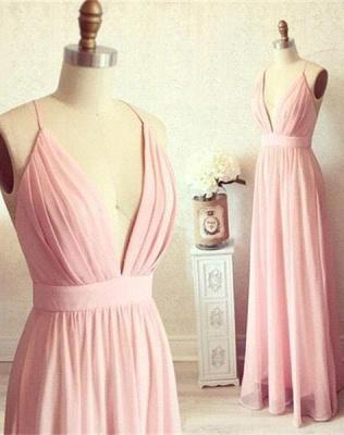 Sexy Pink Long chiffon Prom Dress UK Summer Floor Length_2