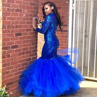 Royal-Blue Mermaid Prom Dress UK   Long Sleeve Sequins Party Gowns BK0_3