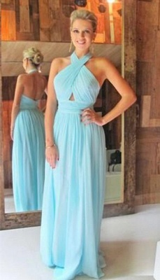 Summer Ruffles Halter A-Line Long Chiffon Backless Prom Dress UKes UK BA4869_2