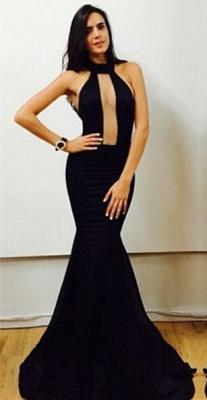 Elegant Black High-Neck Mermaid Prom Dress UKes UK Floor Length Evening Gowns_1