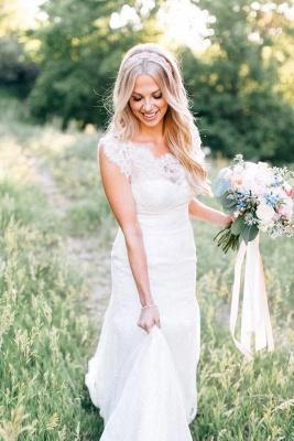 Elegant Cap Sleeve Lace Wedding Dress Summer_3