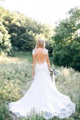Elegant Cap Sleeve Lace Wedding Dress Summer_4