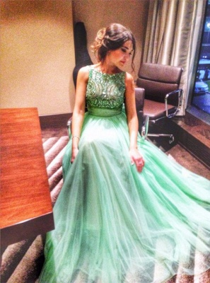 Delicate Crystals Tulle Prom Dress UK Bowknot A-line_4