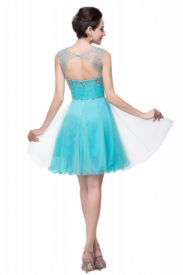 Classic Sleeveless Tulle Short Homecoming Dress UK With Crystals_5