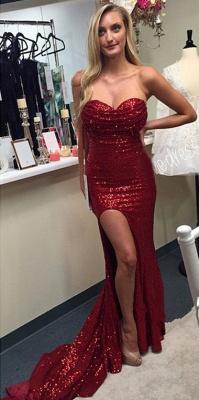 Elegant Red Sequins Prom Dress UKes UK Split Mermaid Zipper Back_1