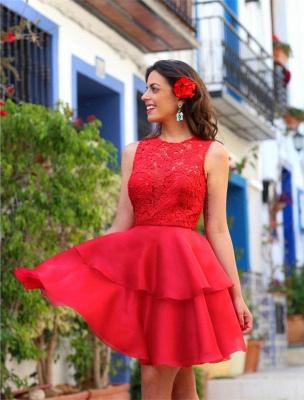 Modern Red Lace Homecoming Dress UK Layered Short Prom Dress UK_3