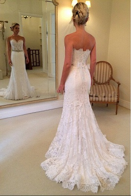 Delicate Sweetheart Sleeveless Lace Sexy Mermaid Wedding Dress With Beadss BA1598_2