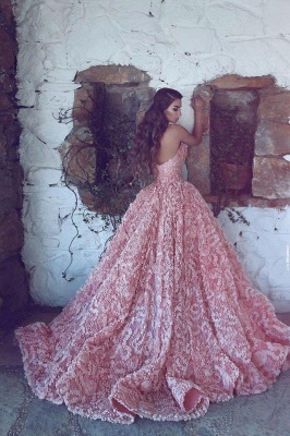 Luxury Sweetheart Pink Prom Dress UK Princess With Appliques_4