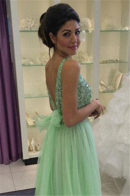 Delicate Crystals Tulle Prom Dress UK Bowknot A-line_5
