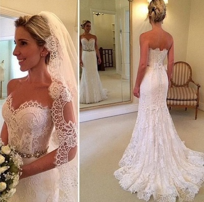 Delicate Sweetheart Sleeveless Lace Sexy Mermaid Wedding Dress With Beadss BA1598_4