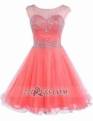 Lovely Illusion Cap Sleeve Short Homecoming Dress UK Beadings Crystals Zipper Cocktail Gown_1