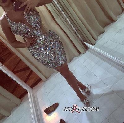 Halter-Neck Bling Crystals Sheath Short Elegant Short Homecoming Dress UKes UK_2