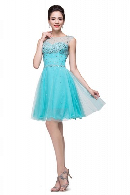Classic Sleeveless Tulle Short Homecoming Dress UK With Crystals_2